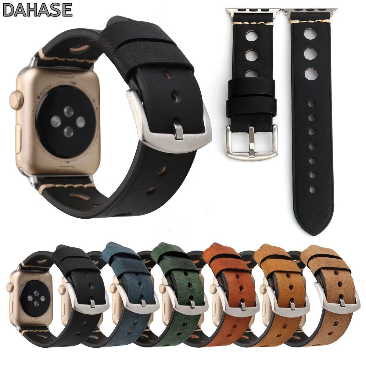 Round Hole Genuine Leather Band for Apple Watch iWatch Series 1 2 3 4 5 Strap Metal Buckle Retro Watchband 44mm 42mm 40m