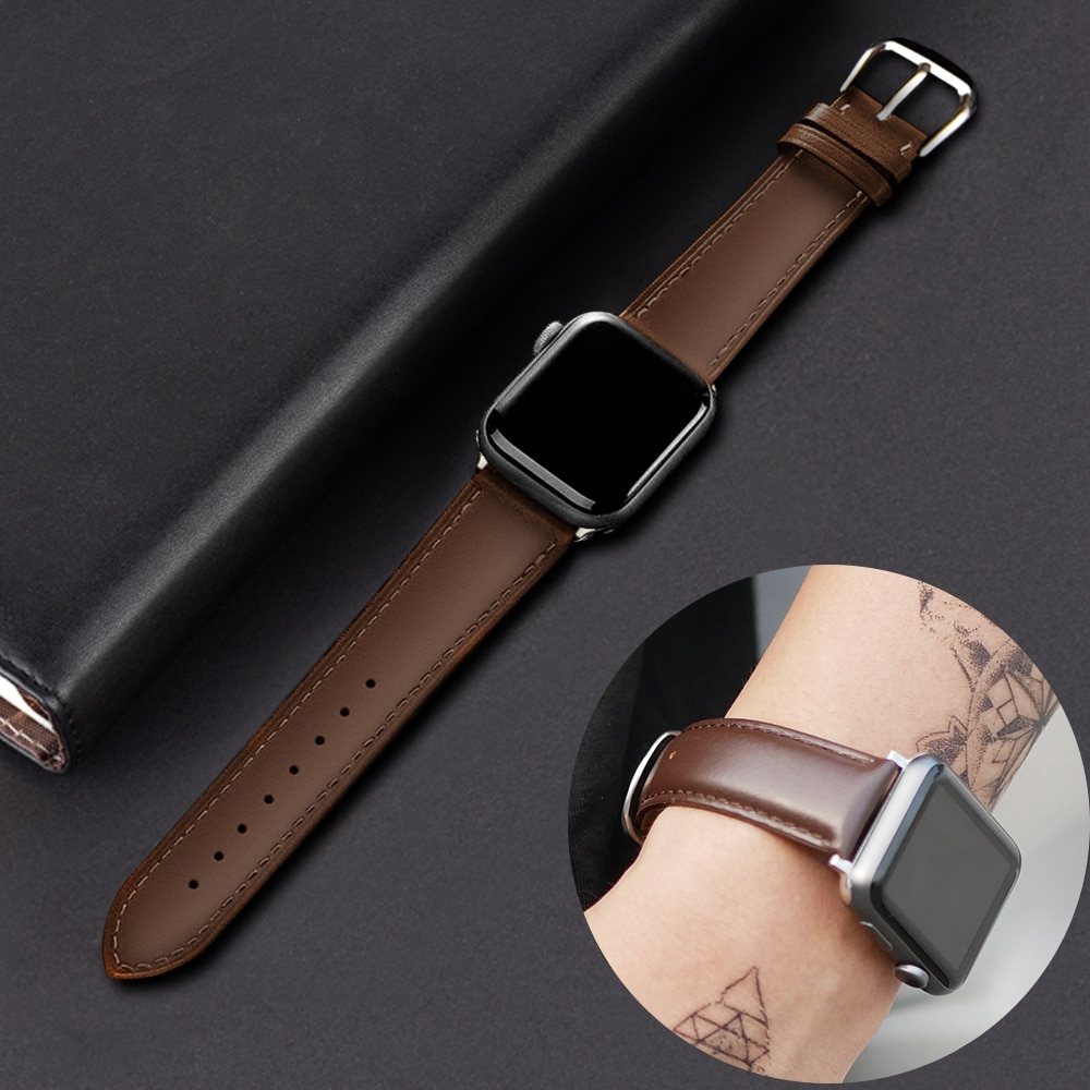 Leather Watch Band for Apple Watch Strap Series 6 SE 5 4 3 2 1 for Iwatch 38mm 42mm Wrist for Apple Watch Bands 44mm 38mm 42mm 40mm