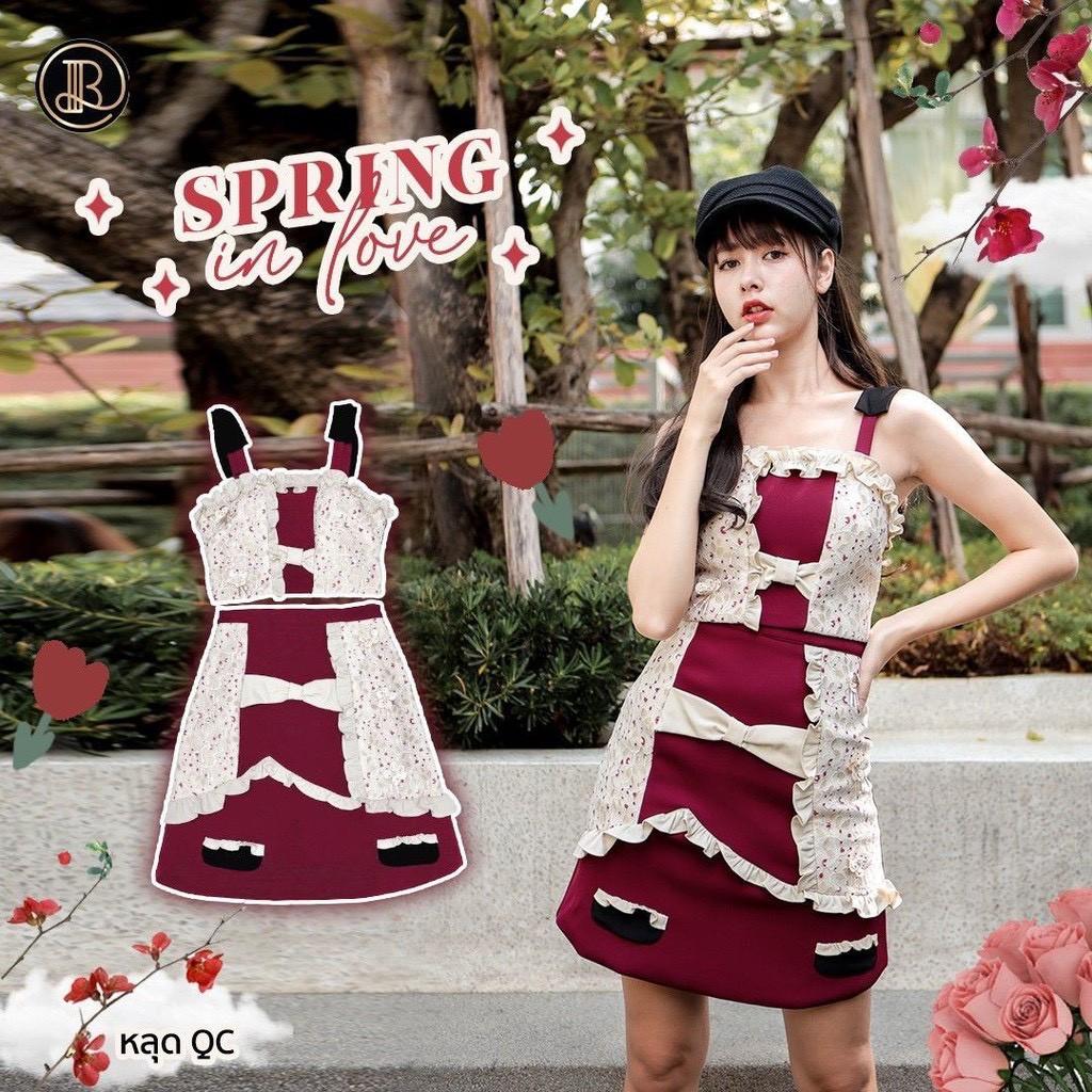 BLT BRAND การันตีเสื้อผ้าแบรนด์แท้ สินค้าหลุด QC มินิเดรสสายเดี่ยวสีครีมแดง SPRING IN LOVE Size XS