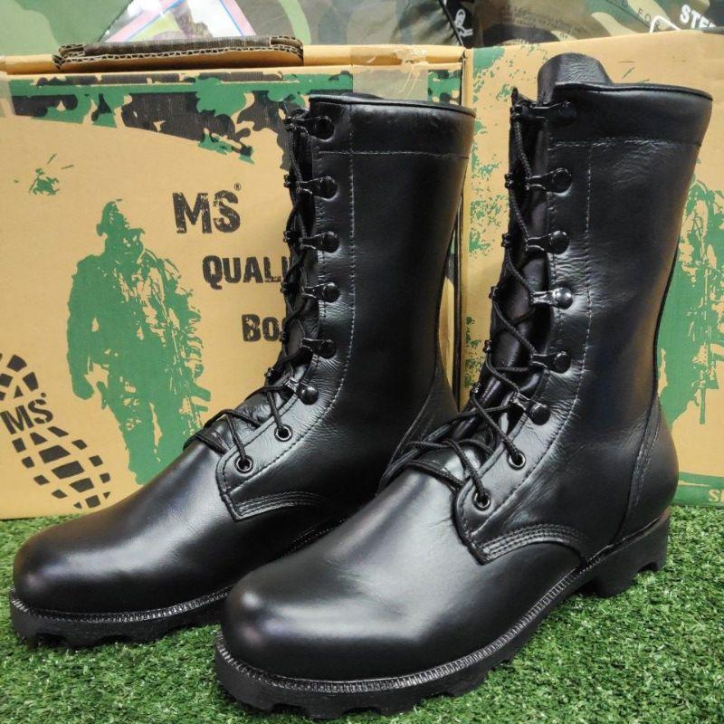 รองเท้าคอมแบท MS หนังแท้เกรดดี100%ฟรีเหล็กชิดเท้ากับยางรัดท็อป
