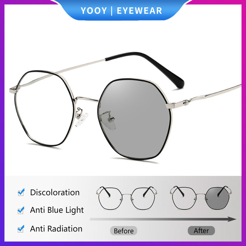 2020 Fashion Anti Radiation Eye Glasses Photochromic Metal Glasses