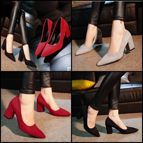รองเท้ามีส้น รองเท้าเสริมส้น รองเท้าส้นสูงไซส์ใหญ่ ✨ คัชชูหัวแหลมส้นสูงผู้หญิง รองเท้าส้นสูงแฟชั่นขายดี รองเท้าคัชชูส้นส