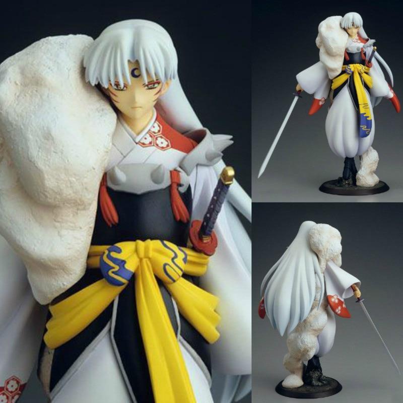 please COD 18-23cm Inuyasha Sesshoumaru Dog Demon Tessaiga Tenseiga Sword Action Figure Anime Inuyasha PVC Figure Collec