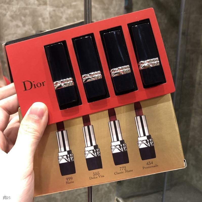 ❄Dior / lipstick sample limited edition 999 matte moisturizing flame blue gold 520 gift box ชุดสี่ชิ้น