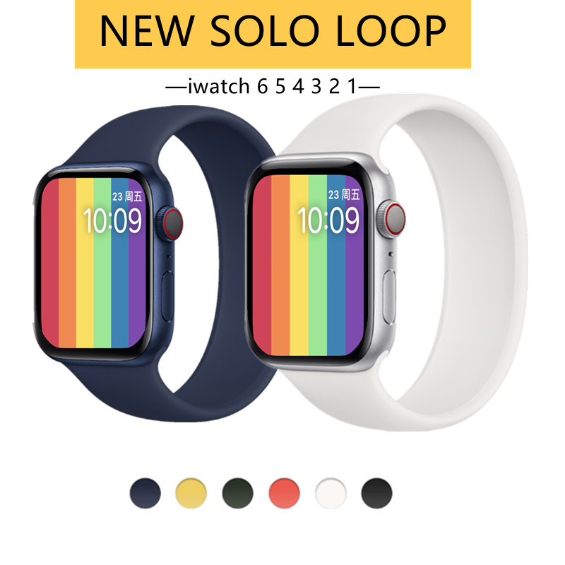 Apple Watch 6 Band Solo Loop สำหรับ Iwatch 5 4 3 2 38mm 40mm 42mm 44mm ซิลิโคนยืดหดได้สำหรับ Iwatch Series 1 ใหม่ สายคล้องข้อมือ นาฬิกาสายยาง นาฬิกาแอปเปิ้ลวอช Applewatch Band