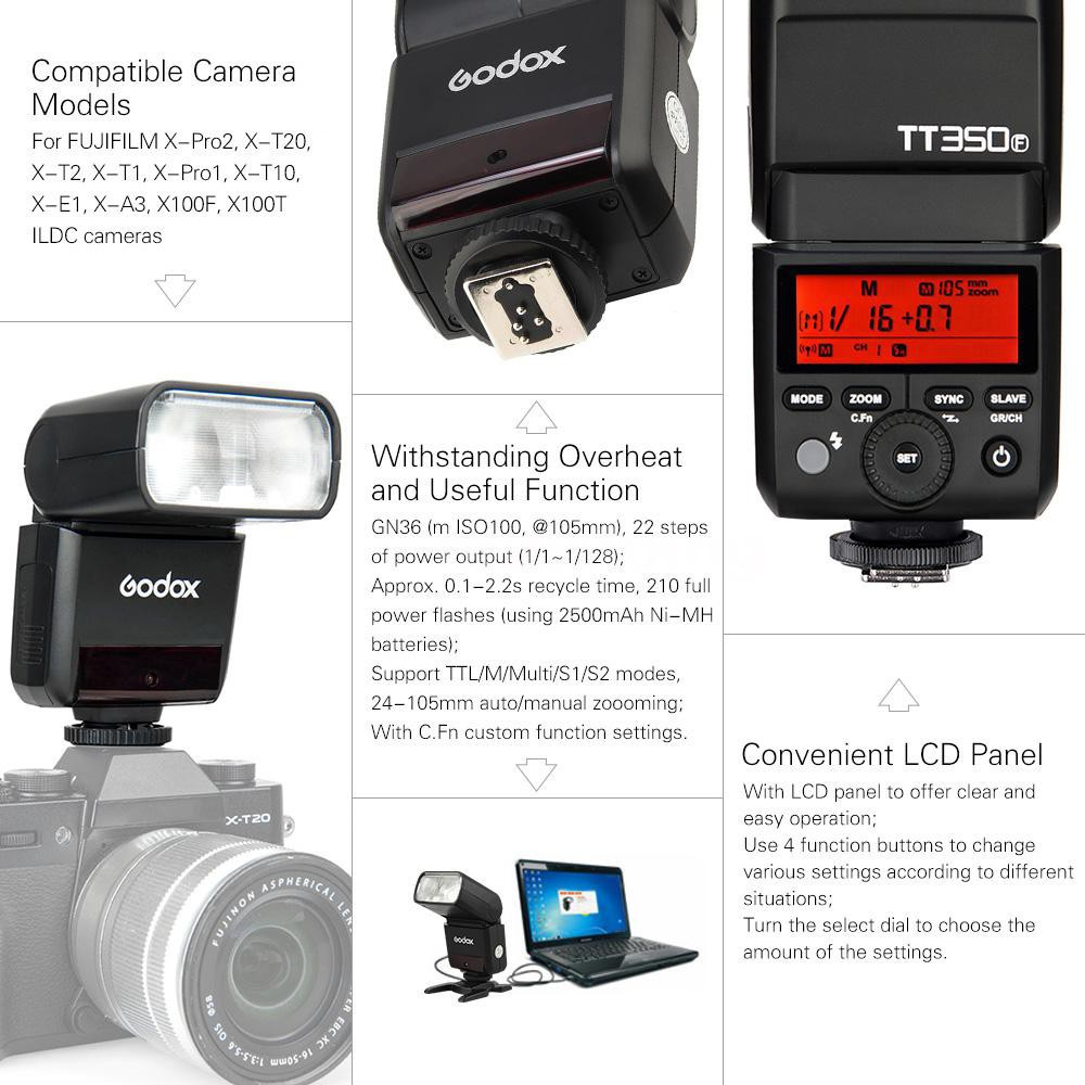 Godox TT350F 2.4G HSS 1//8000s TTL GN36 Camera Flash Speedlite for Fuji Cameras X-Pro2 X-T20 X-T2 X-T1 X-Pro1 X-T10 X-E1 X-A3 X100F X100T with Color Filters and PERGEAR Cleaning Cloth