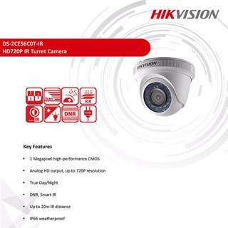 Hikvision กล้องวงจรปิด HDTVI 720P รุ่น DS-2CE56C0T-IR (3.6 Mm)