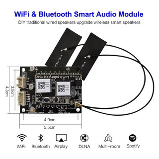 WIFI Bluetooth 5.0 Audio Receiver DIY Wireless Music Player Adapter Board Module with AirPlay DLNA Multiroom 24bit/192kH