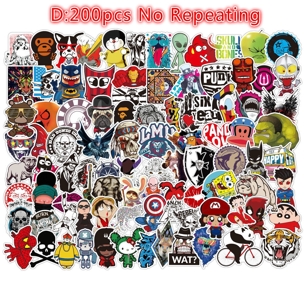 100 Supreme Skateboard Stickers bomb Vinyl Laptop Luggage Decals Sticker Lot