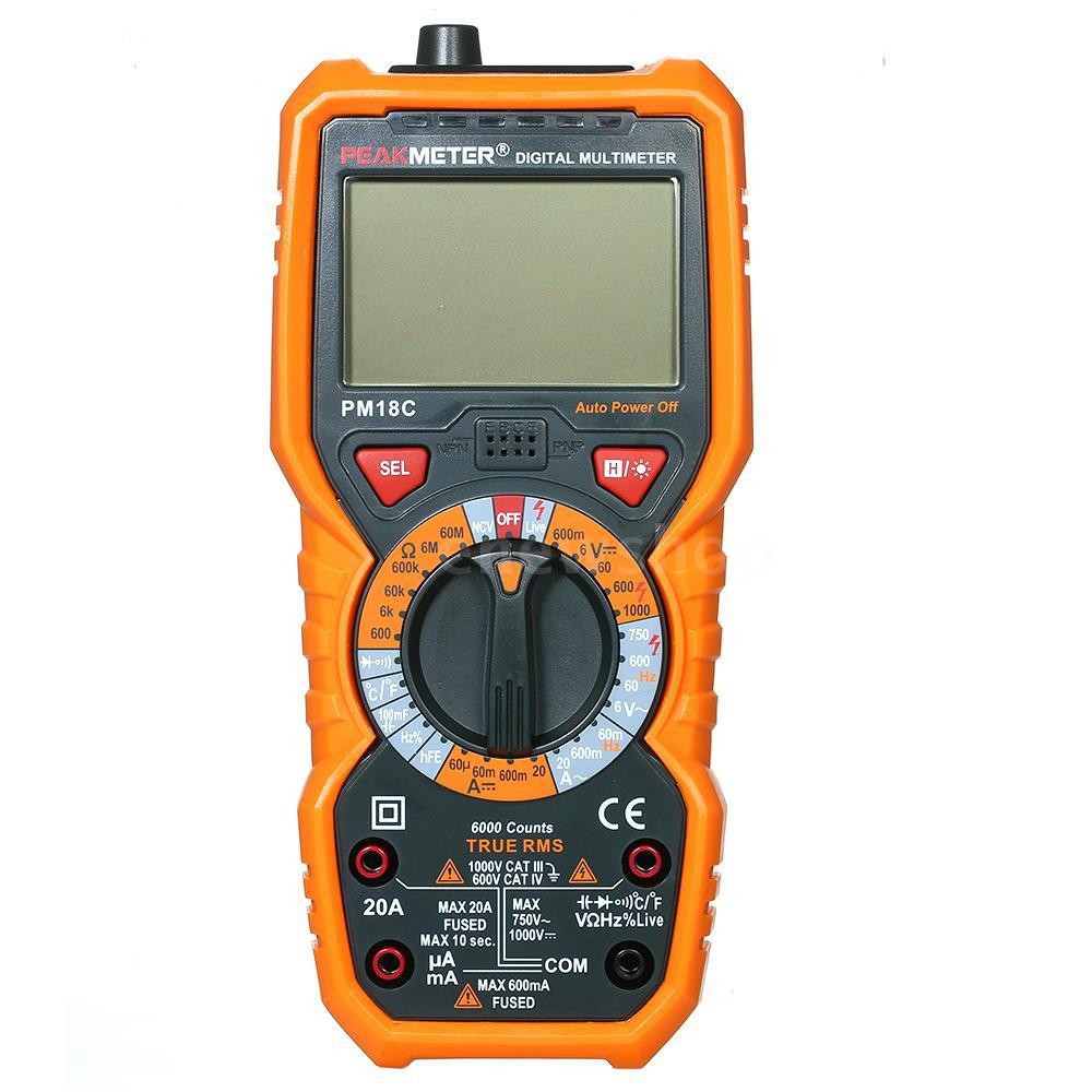 เครื่องวัดแรงดันไฟฟ้ามัลติมิเตอร์ดิจิตอล ht 118 c 6000 counts true rms ac/dc c