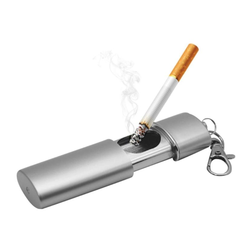 Office and Mall Creative Portable Mini Ashtray Simple ABS Cigarette Ash Holder Pocket Smoking Ash Tray with Lid Keychain