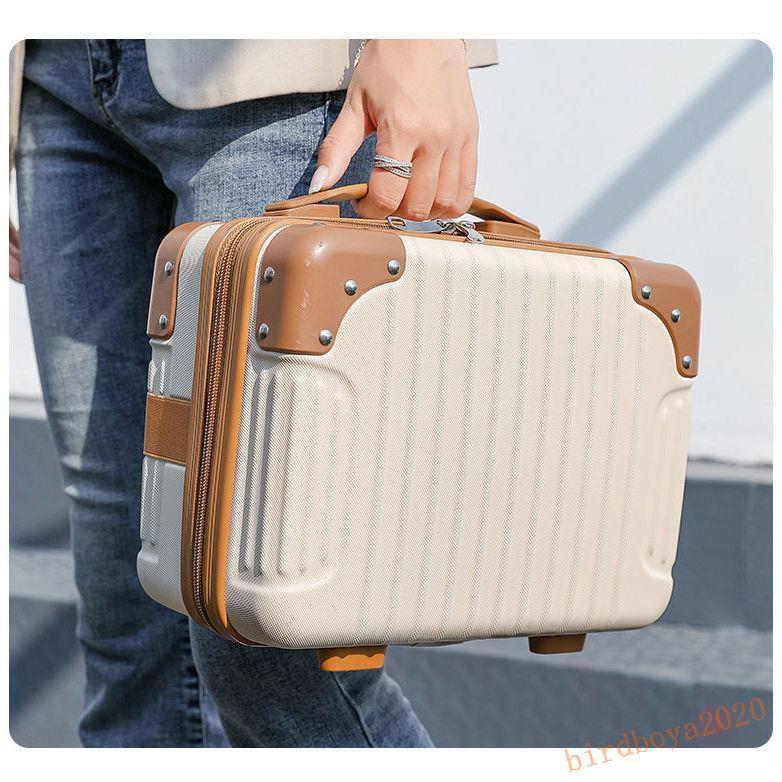 กระเป๋าเดินทางขนาดเล็กกระเป๋าถือ 14 นิ้วหญิงเกาหลีเครื่องสำอางค์แบบพกพาสุทธิสีแดงกล่องเก็บเดินทางหญิง