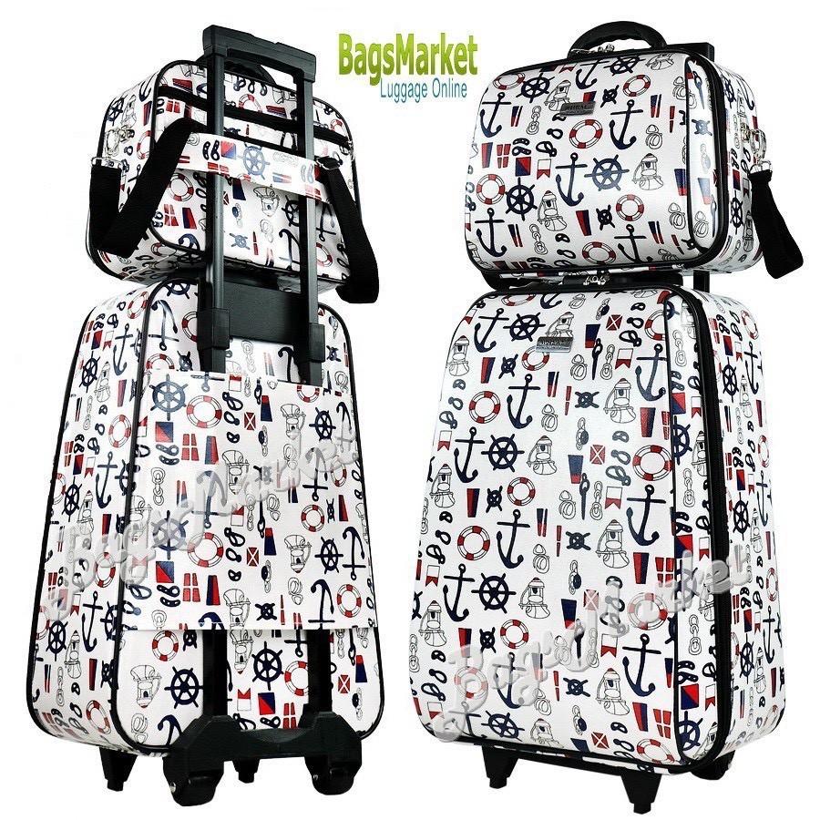 ☌BagsMarket Luggage 🔥 กระเป๋าเดินทางล้อลากขนาด 20/14 นิ้ว เซ็ท 2 ใบ ลายการ์ตูน Kitty Blue