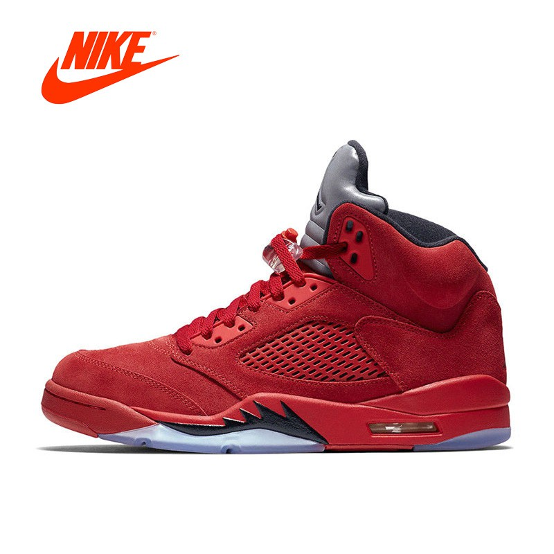running shoes best sneakers later Review Original Et Authentique Nike Air 5 rouge En Daim AJ5 Hommes ...