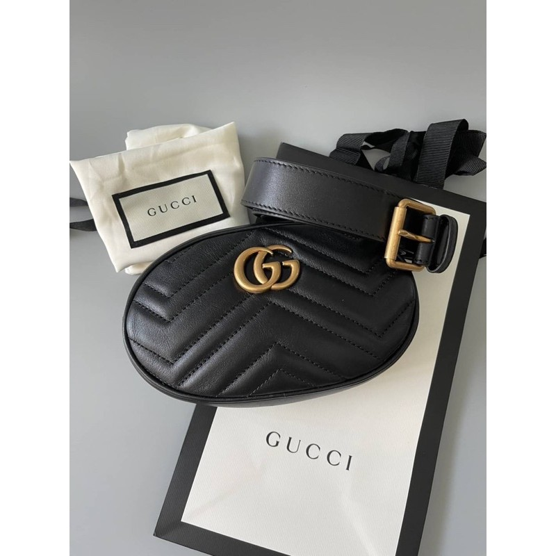 (ผ่อน0%)📌แท้💯 Gucci GG Marmont matelassé belt bag(ไม่แท้คืนเงิน)