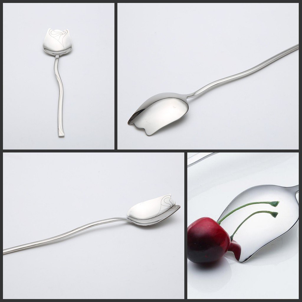 Silver Long Handle Spoon 304 Stainless Steel 3pcs Mixing Spoons With 3pcs Straws