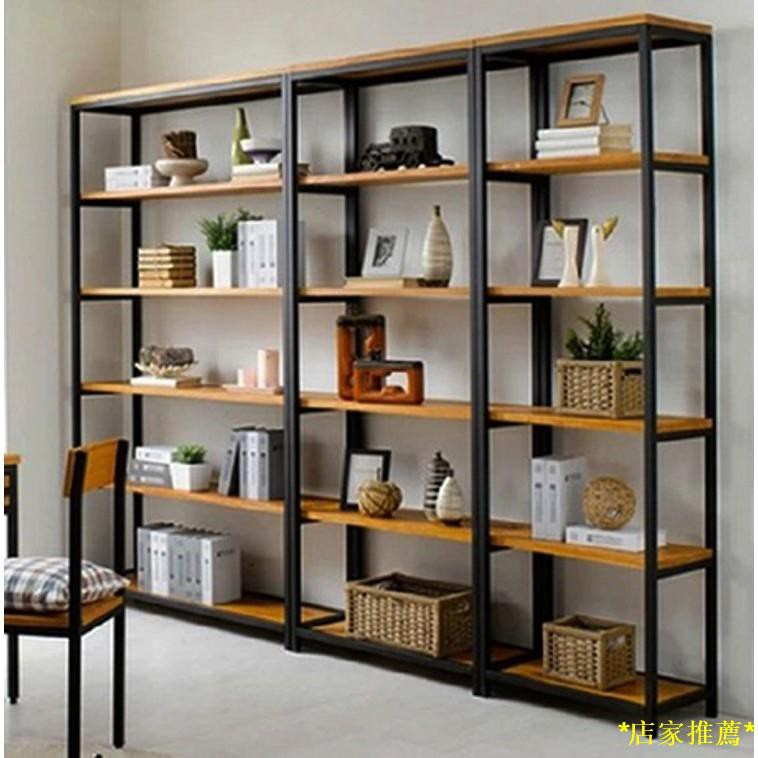 〖New Products in Stock,Free Shipping〗American CountryloftIron Solid Wood Floor Shelf Vintage Partition Multi-Layer Books
