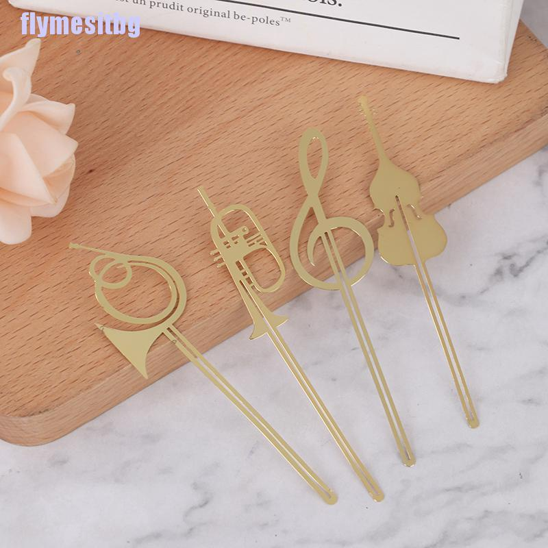 【lay】Gold Musical Instruments Metal Book Markers Bookmark For Books Paper Clips