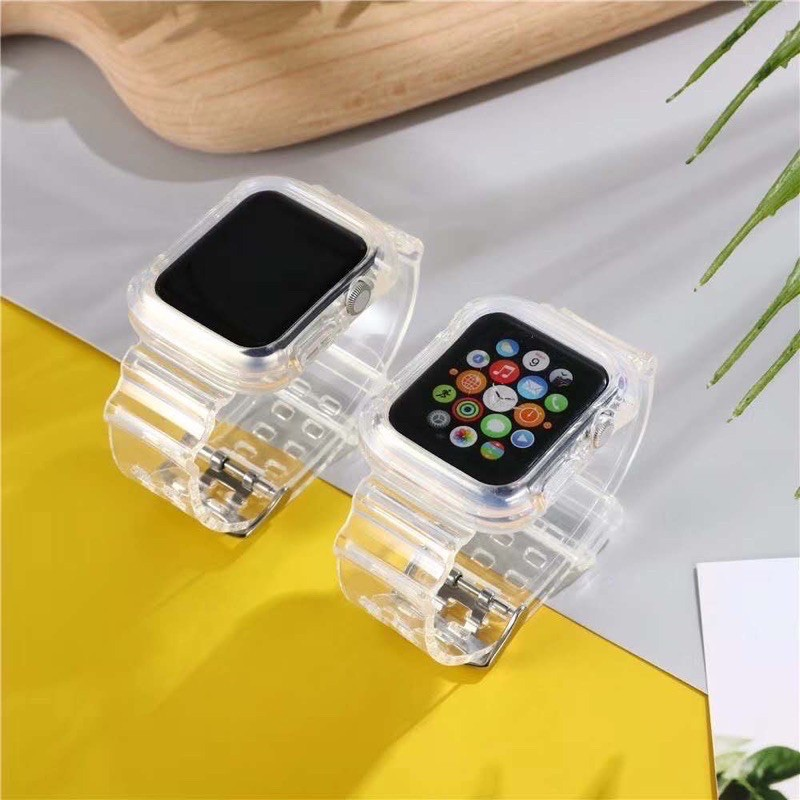 สาย applewatch แท้ สาย applewatch สายsnow iceเคสพร้อมสายแบบใสมี2สีแบบชาโคลใส กับสีใสมีทั้ง2ขนาด38-40/42-44mm