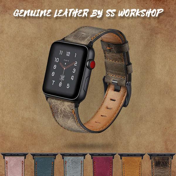 สาย applewatch สายหนัง Iwatch เหมาะสำหรับ Apple applewatch12345 รุ่น retro oil wax ผิวระบายอากาศแบรนด์ 6SE