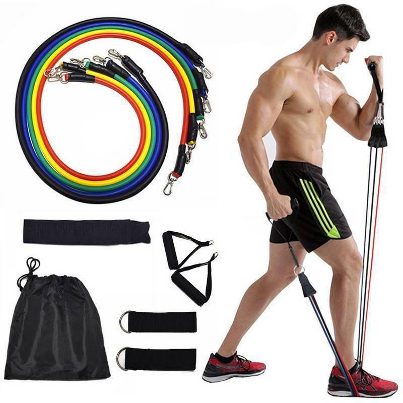 ☃﹍ยางยืดออกกำลังกาย ยางออกกําลังกาย Elastic Resistance Set 11 Pcs ออกกําลังกายด้วยยางยืด ยางยืด สายยางยืด อุปกรณ์ฟิตเนส