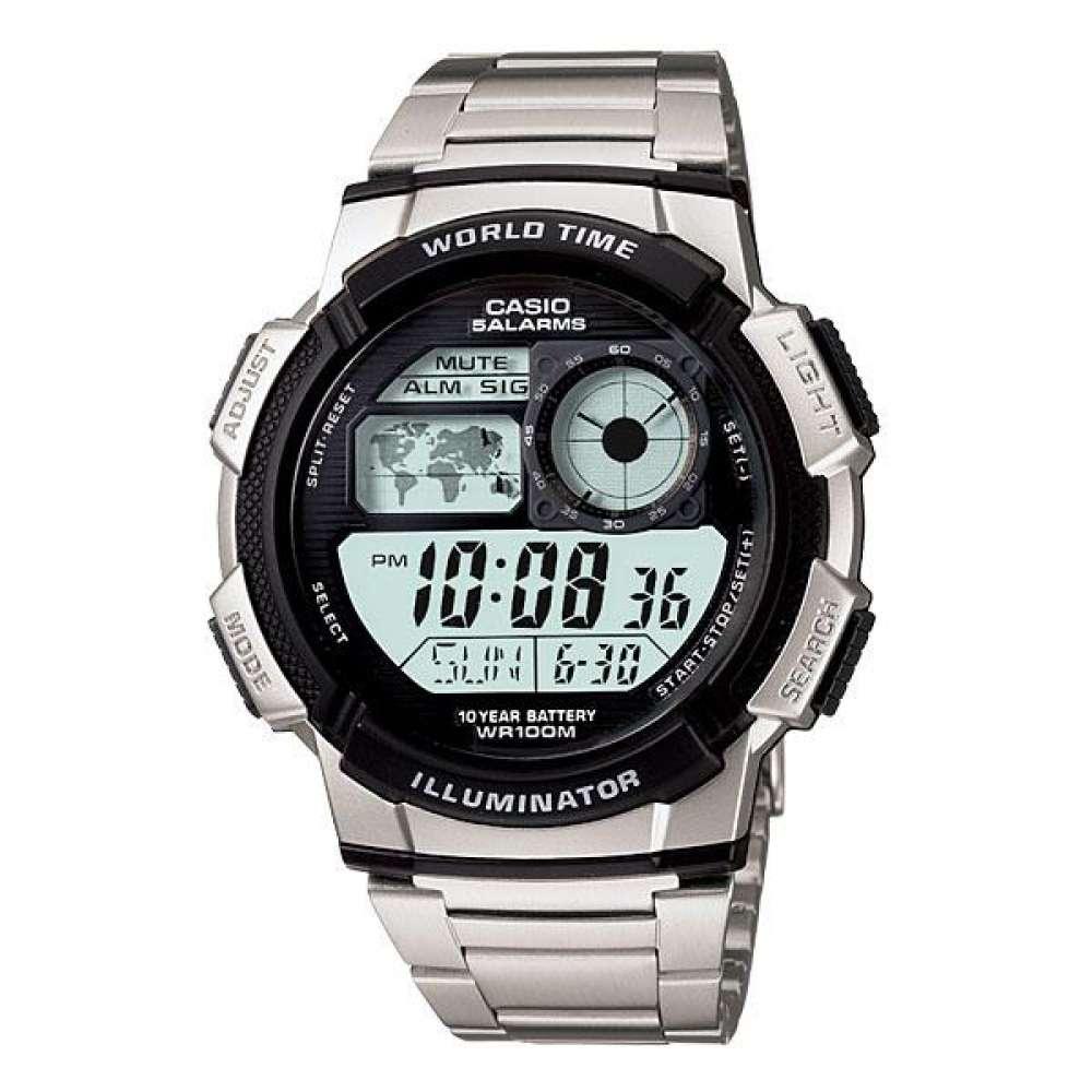 Casio นาฬิกาข้อมือผู้ชาย สีเงิน สายสแตนเลส รุ่น AE-1000WD-1AVDF