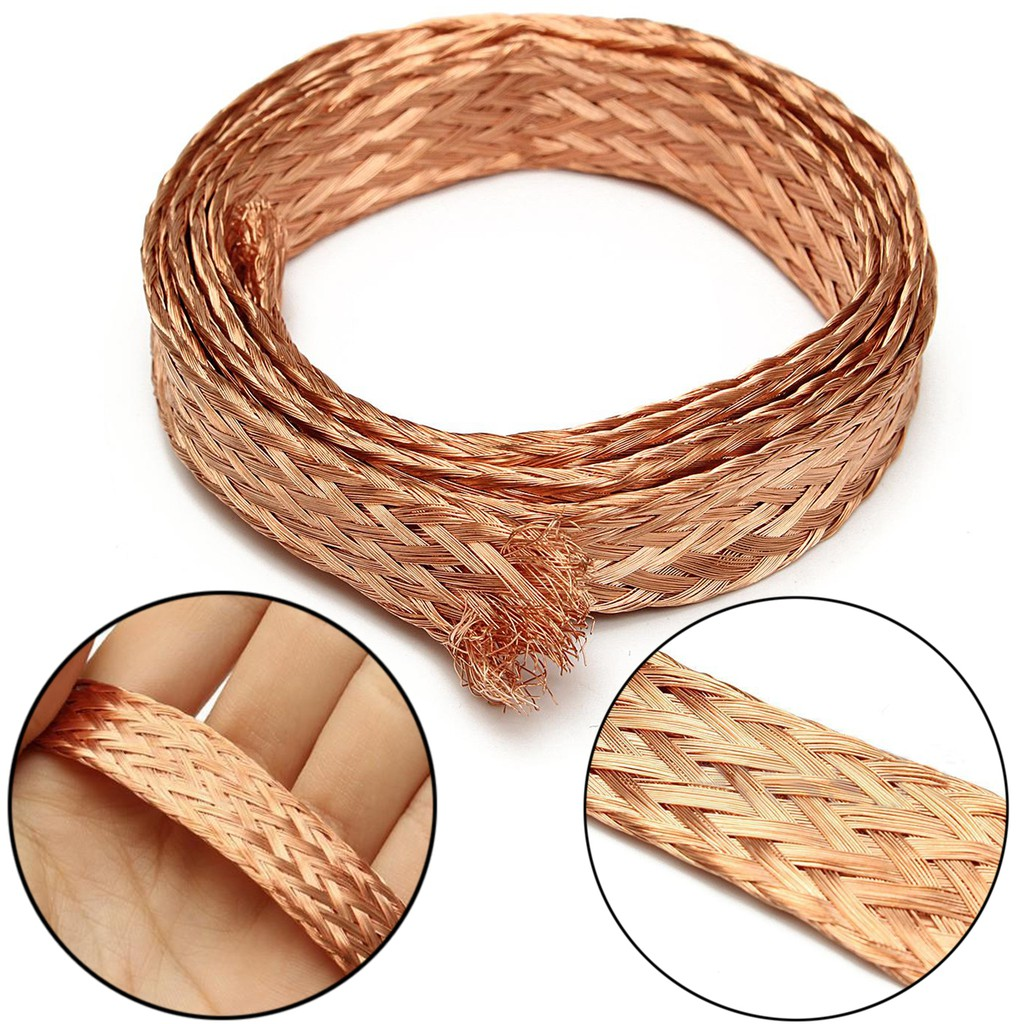 1m//3.3 Ft 6//15mm Flat Pure Copper Braid Cable Bare Copper Braid Wire Ground Lead