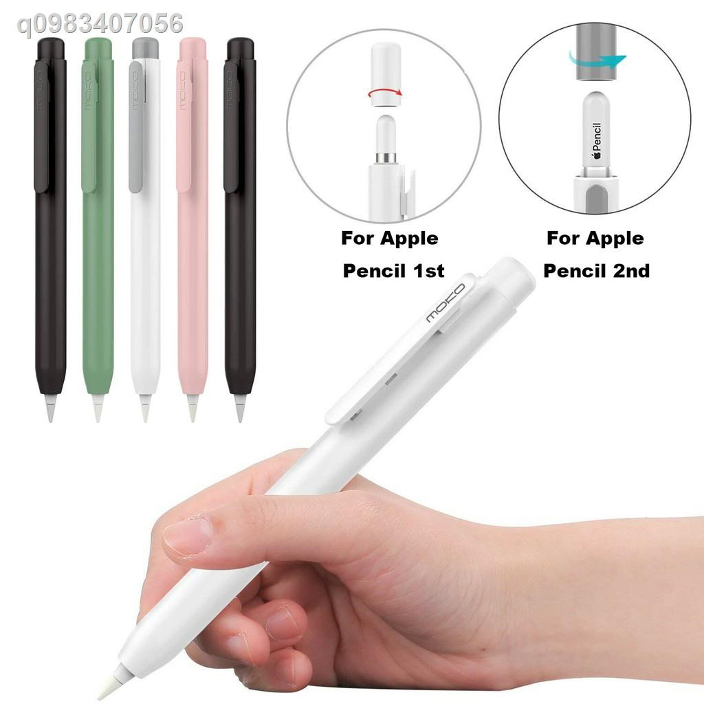 💕ส่วนลด✨▩☃Moko Protective Case Holder for Apple Pencil 1st/2nd with Built-in Clip,Retractable Tip Protection,Spring Bu