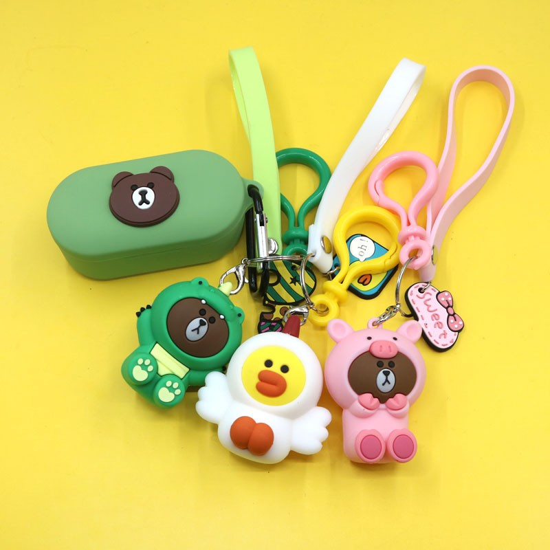 Wireless❂Apply QCY T1S bluetooth headset to protect shell T5 creative cute cartoon bear dinosaur pendant T1X silicone sets