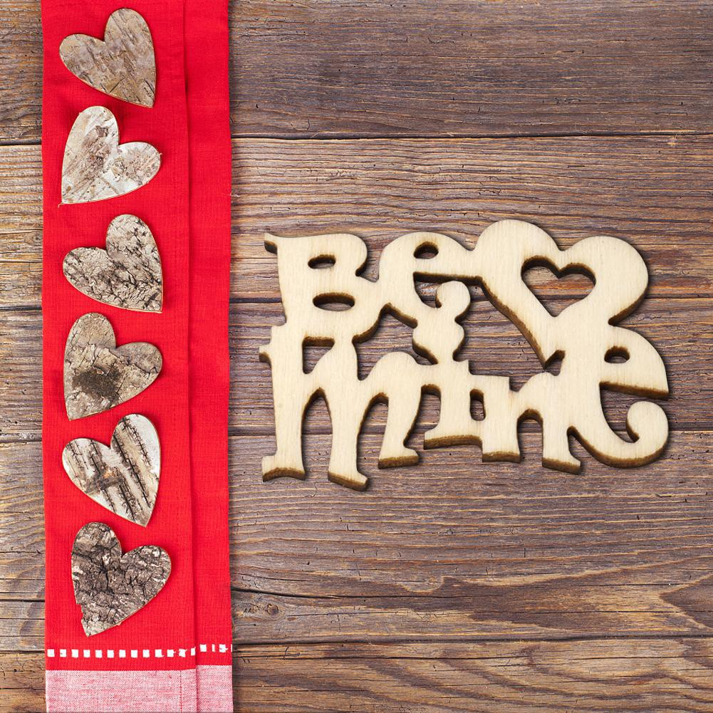 15PCS Rustic Small Wooden Love Letter Wedding Decoration Craft Embellishment 41