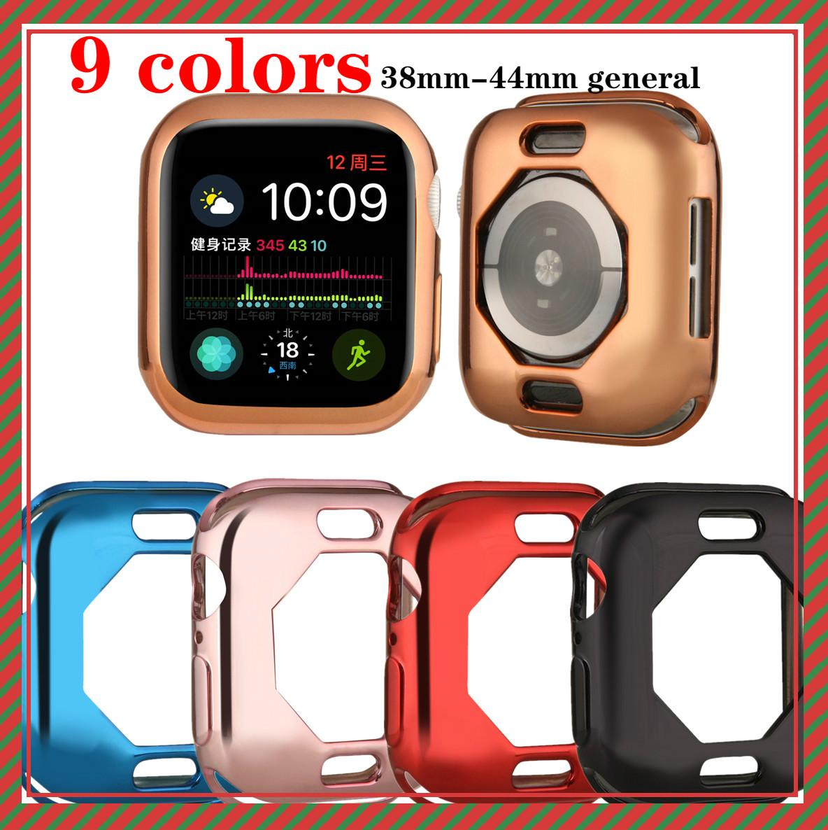 Watch cover Case for Apple watch cover 4 5 40mm 44mm Protective electroplating Soft TPU cases For iWatch Series 3 2 42mm 38mm【Exquisite strap】