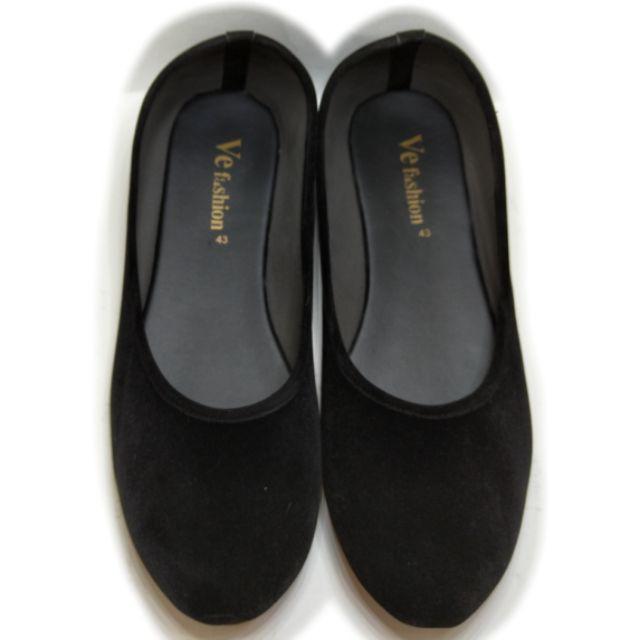 รองเท้าคัชชู/รองเท้าคัชชูสีดำ/รองเท้าคัชชูไม่มีส้น/รองเท้าผ้ากำมะหยี่เนื้อดีใส่สบาย