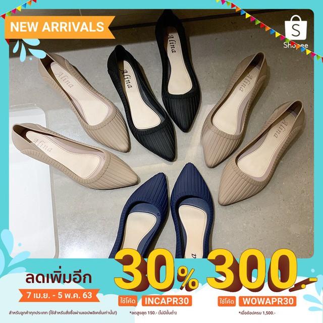 รองเท้าส้นแบนผู้หญิง รองเท้าสตรี รองเท้าคัชชู หัวแหลมมีส้น1นิ้ว KD14