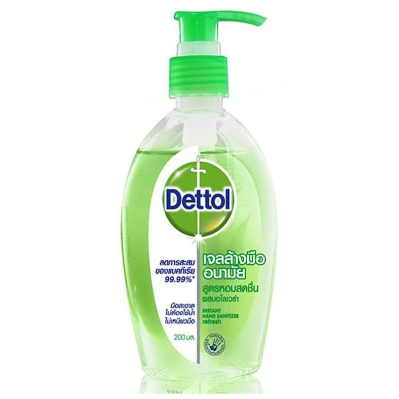 Dettol เจลล้างมือแอลกอฮอลล์  สูตรหอมสดชื่นผสมอโลเวล่า ลดการสะสมแบคทีเรีย 200 มล.