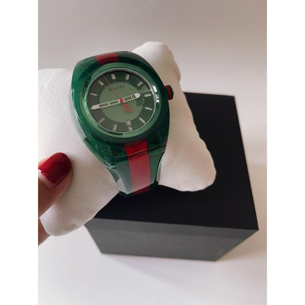 (สด-ผ่อน)🎗แท้100% GUCCI Sync Green Dial Men's Two Tone Rubber Watch