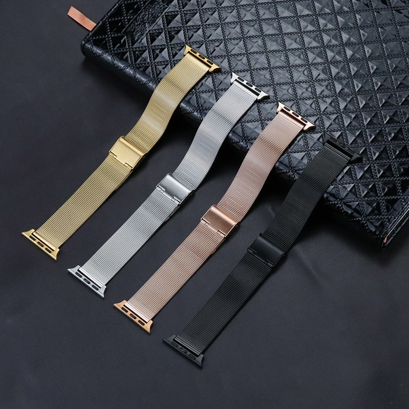 Apple watch strap, spare stainless steel strap, Iwatch Series 5 / 4 / 3 / 2 / 1 42mm 44mm 38mm and 40mm mesh strap