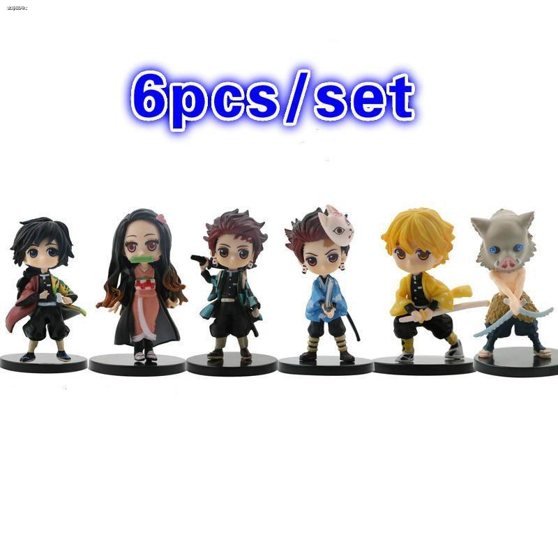 6pcs/set Demon Slayer Tanjirou Zenitsu Huntress  Anime Figurine Japanese PVC Action Figure Toys Model Collection Doll