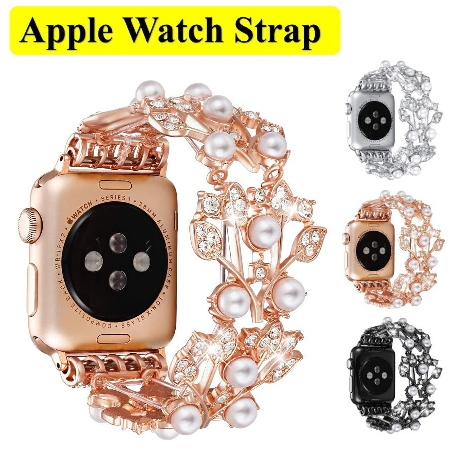 สายนาฬิกา Apple Watch Straps Luxury Jewellery Leaf iWatch ฟุ่มเฟือย สาย Applewatch Series 6 5 4 3 2 1 Stainless Steel for apple watch iWatch Series6 ,Series5,Series4 ,Series3, Series2 , Apple Watch SE Watch band iwatch size 38mm 40mm 42mm 44mm