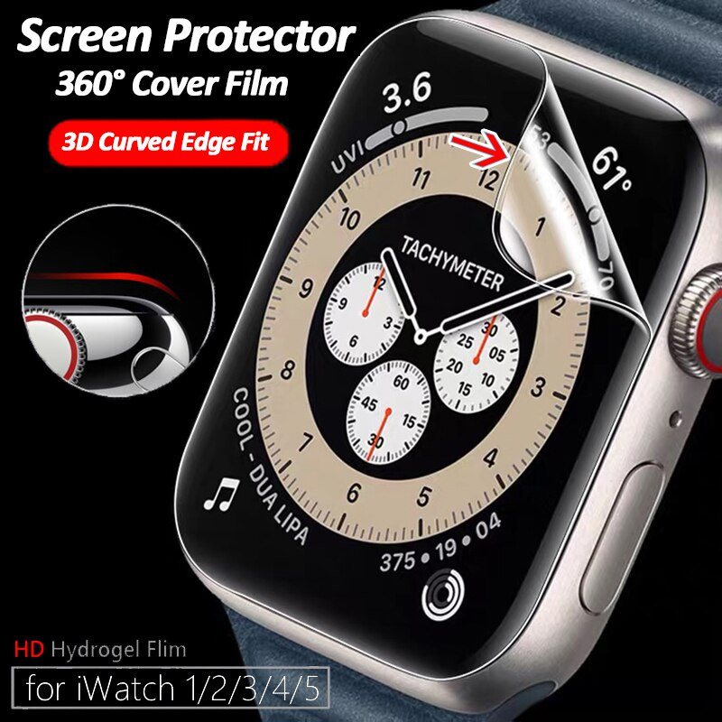 2PCS Hydrogel Film Screen Protector for Apple Watch Series 6 SE 5 4 3 2 1 Case Cover 44mm 40mm 42mm 38mm Ultra Thin Screen Protector