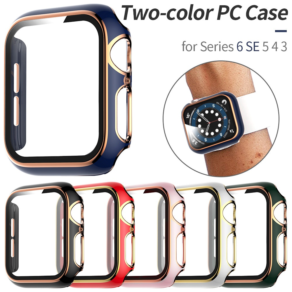 Two-color Glass Film with PC Cover for Apple Watch Case Series 6 SE 5 4 3 Screen Protector Bumper for Iwatch 40mm 44mm 38mm 42mm