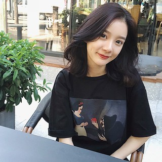 Review ✤✘▥new joker tops 2019 summer t-shirt girl students render unlined upper garment printing soft sister cute loose big yards dress