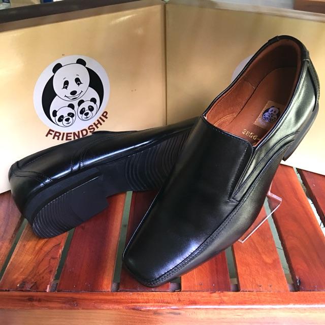 **ซื้อ 1 คู่แถม 1 คู่คละแบบได้**รองเท้าหนังแท้ Friendship shoes รุ่น 3856-6021 คัชชูหนังแท้สีดำ หัวแหลมตัด น้ำหนักเบา