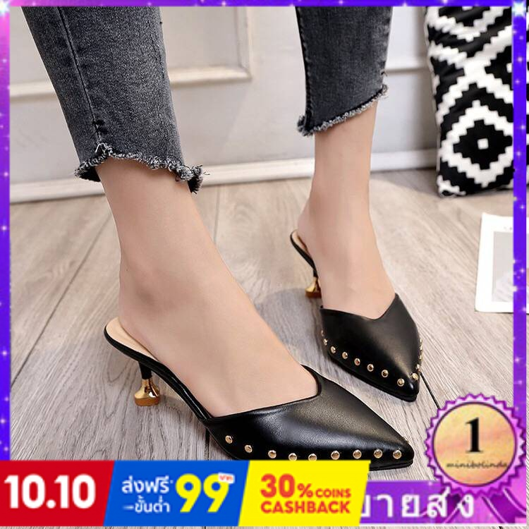 ⭐👠รองเท้าส้นสูง หัวแหลม ส้นเข็ม ใส่สบาย New Fshion รองเท้าคัชชูหัวแหลม  รองเท้าแฟชั่นรองเท้าผู้หญิงยุโรปและอเมริกาในฤดูใ