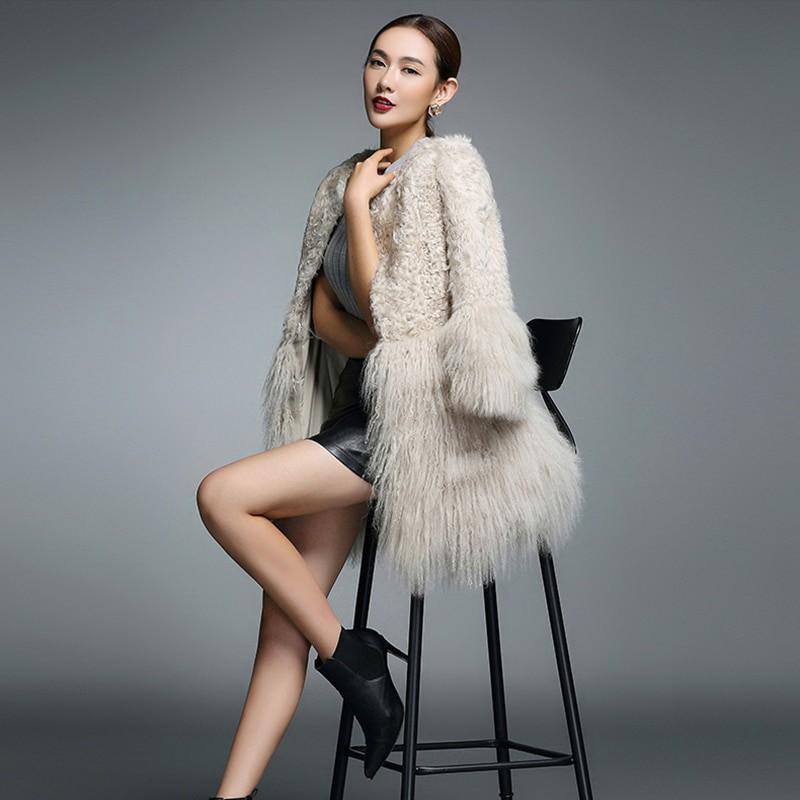 ✳Real Fur Coat for Women Natural Lamb Fur with Mongolia Sheep Fur Coats rf0093B