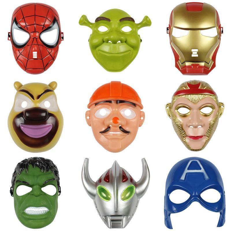 ✁☑หน้ากากการ์ตูนเด็กชาย Ultraman Monkey King Pig Bajie Spiderman Iron Batman helmet anime female