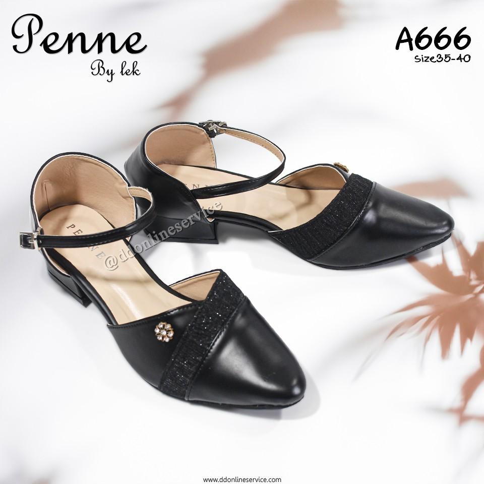 Penne  รุ่นA666 รองเท้าคัชชูรัดส้น รองเท้าใส่ออกงาน