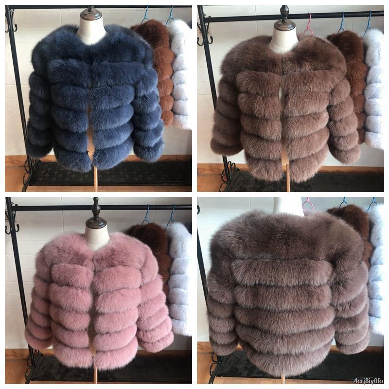 ▫▪✟50cm  New Women Warm Real Fox Fur Coat Short Winter Fur Jacket Outerwear Natural Blue Fox Fur Coats for Women Hot Pro
