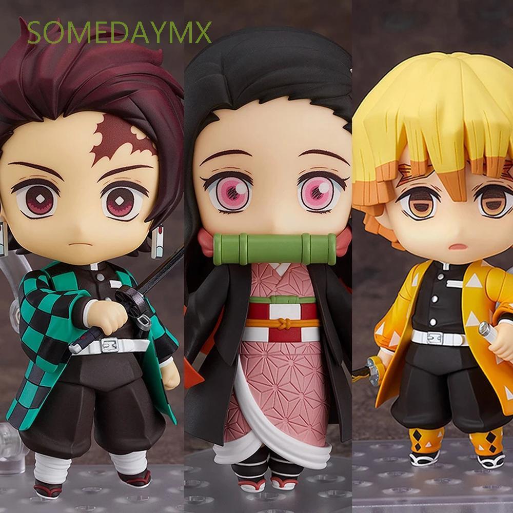 SOMEDAYMX PVC Action Figure Toys Demon Blade Toy Figures Anime Demon Slayer Shinobu Kamado Tanjirou Agatsuma Doll Orname