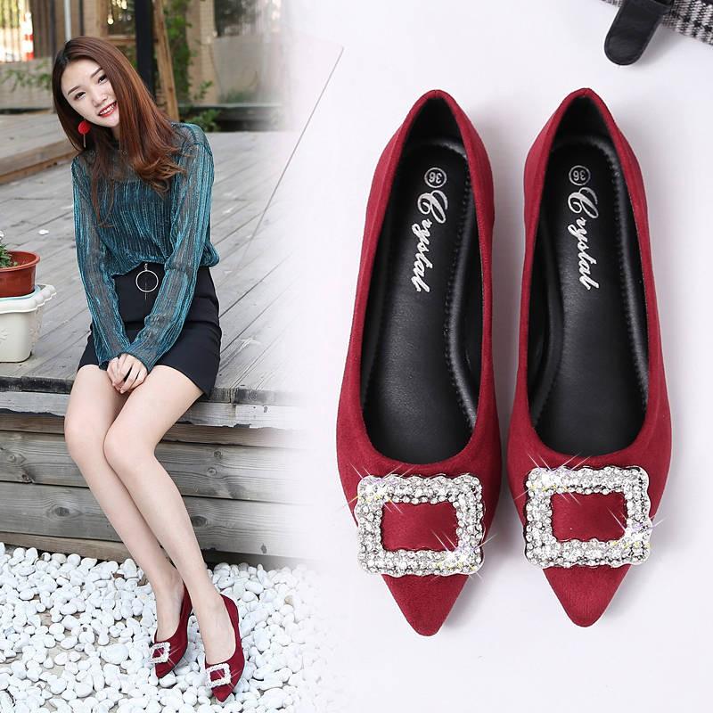 รองเท้าคัชชู ร้องเท้า รองเท้าผู้หญิง ✌2019 ใหม่รองเท้าแบนหญิงเวอร์ชั่นเกาหลีของป่าแหลมน้ำเจาะลดสีดำรองเท้าเดียวผู้หญิงขน
