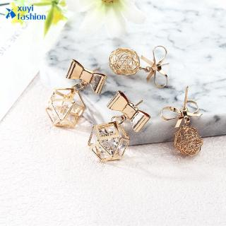 Review women fashion Hollow Butterfly knot Bow dangle earrings jewelry gift